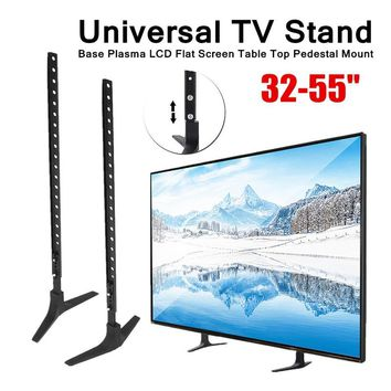 """RC Turtle® - Mount 32-55"""" Height Adjustable Universal TV Stand Base Alloy + Steel Plasma LCD Flat Screen Table Top Pedestal Easy Install"""