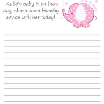 10 Pink Baby Elephant Baby Shower Advice Cards