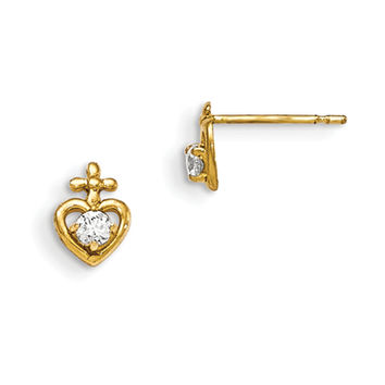 14K Yellow Gold Cross Topped Heart with CZ Stone Girls Stud Earrings