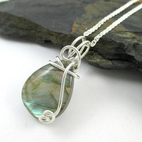 Labradorite Necklace, Sterling Silver, Raw Labradorite Pendant, Wire Wrapped, Labradorite Jewelry, Iridescent Stone, Natural Stone Jewelry