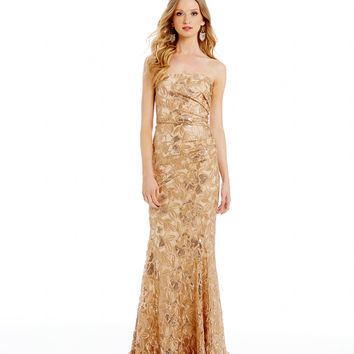 Belle Badgley Mischka Heaven Foiled Floral-Print Metallic Sequin Gown | Dillards