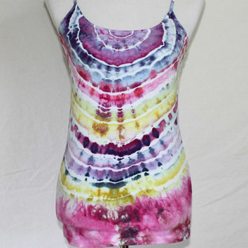 Tie Dye Tank Top, Purple Tie Dye Shirt, Tie Dye Tank in Pink, Striped Tank Top, Tye Dye, Yoga Top, Activewear, XL Tie Dye Tank Top