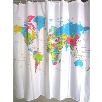 Creative Stylish World Map Bath Shower Curtain With 12 White Plastic C-type Hook