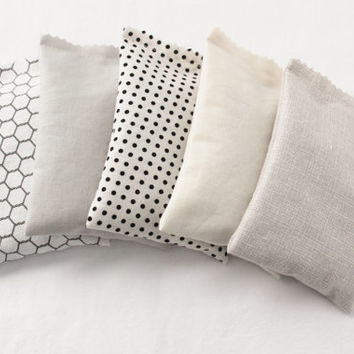 French Country Botanical Sachets, Soft Grey Cream Black & White Polka Dot, Gardenmis