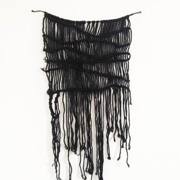 Black Cotton Macrame Wall Hanging - Handmade Macrame Wall Art Free UK Delivery