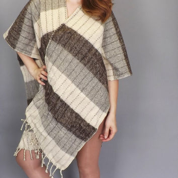 Vintage Nomad 1970s Gray Striped Wool Poncho Southwestern Knit Sweater Fall Coat Boho Hipster SoCal Shawl Wrap Mexican Jacket Mens Womens