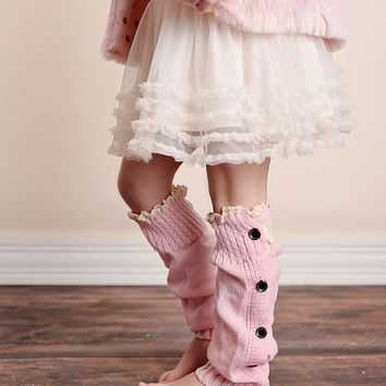 Pink Button Down Boot Socks - Available for Girls and Women!