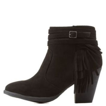 Black Side Fringe Ankle Booties by Dollhouse at Charlotte Russe