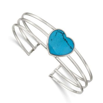 925 Sterling Silver Simulated Turquoise Heart Cuff Bangle Bracelet