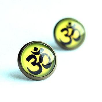 Om Stud Earrings, Green Yellow Studs with Unique Graphic, Om Handmade Yoga Jewelry
