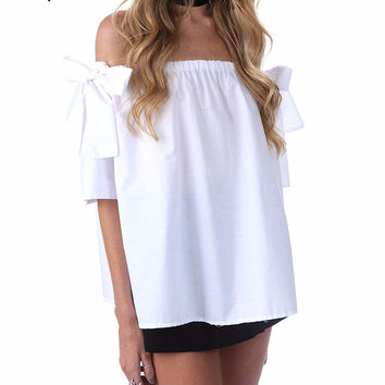 Off shoulder white blouse shirt