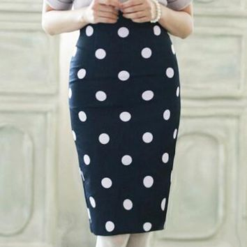 Slim Fitted Knee Length Polka Dot Pencil Skirt