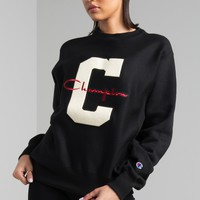Champion Crew Neck Large C Patch Long Sleeve Sweater in White, Black