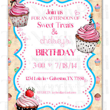 Cupcake Design Printable Birthday Invitation