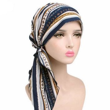 Fashion Print Bandanas for Women Chiffon Turban Cancer Hat Chemo Cap Muslim Hair Loss Head Scarf Turban Head Wrap Cover C169