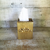 Tissue Box Cover Gold Tissue Box Holder Gold Plated Tissue Box Cover Hollywood Regency Tissue Box Holder Vintage Glam Bathroom Decor
