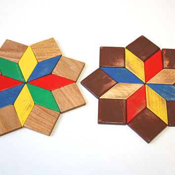 "2 x vintage trivet pot coasters ""star"" wood,  typical German 60s, 70s brown yellow green blue red"