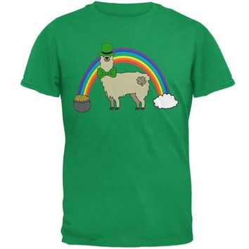 ONETOW St. Patrick's Day Llama Cute Pot Of Gold Mens T Shirt
