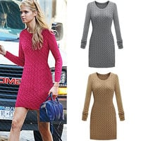 Women Fashion Knitted Sweater Dress Sexy O-neck  Free Size Vintage Style = 1667445828