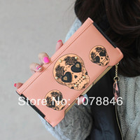 New 2014 PU leather skull style wallets vintage women clutch wallet coin purse phone bag card holder Free shipping