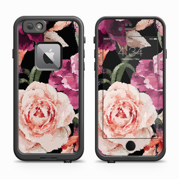 Lively White Rose Floral Skin for the Apple iPhone LifeProof Fre Case