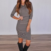 STRIPED TUNIC DRESS- TAUPE/BLACK