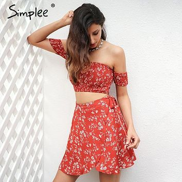Simplee Off shoulder two-piece floral print dress women 2017 Vintage party bow tie short dress Summer beach female dress vestido