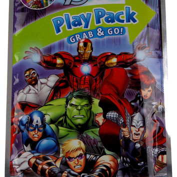 Lot 3 Disney Marvel Avengers Play Pack Grab & Go Coloring Book Crayons Stickers