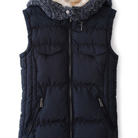 Fur Collar Knitted Hooded Sleeveless Vest Top