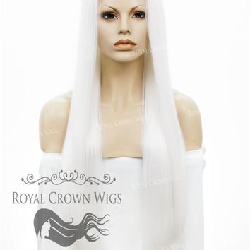 """30"""" Heat Safe Synthetic Straight Lace Front """"Hera"""" in White"""