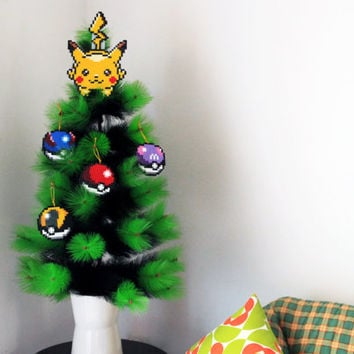Pokémon Inspired Christmas Tree Decoration Set . 4 Christmas Ornaments(Poké Ball, Super Ball, Ultra Ball, Master Ball) + Pikachu Tree Topper