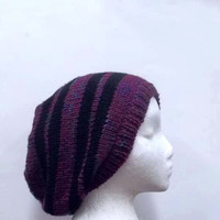 Slouch Hat beanie Purple and black stripes beret men women handmade 4824