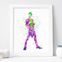 The Joker Poster, Batman Villains Poster - Marvel - DC Watercolor Print