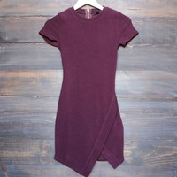 asymmetrical hem french terry bodycon dress in plum