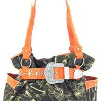 Orange Belted Rhinestone Western Buckle Soft Camo Purse Camouflage Cowgirl Bag
