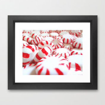Food Photography - Peppermints, Candy, Red and White, Christmas, Kitchen Decor, Cafe Art, Restaurant Art, Holiday, Treats, Sweets, Stripes