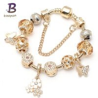 BAOPON Gold Color Charm Bracelet & Bangle for Women With High Quality Murano Glass Beads Pandora Bracelet DIY Birthday Gift