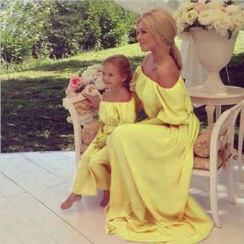 Fancy Yellow Mommy and Me Mother/Daughter Off the Shoulder Long Chiffon Maxi Dresses Matching Outfits