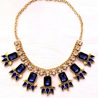 Blue Jeweled Statement Necklace