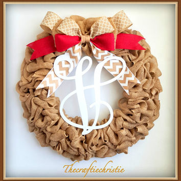 Front Door Wreaths-Spring Burlap Wreaths-Monogram Burlap Wreath-Front Door Monogram Wreaths-Everyday Burlap Wreath-Front Door Decorations