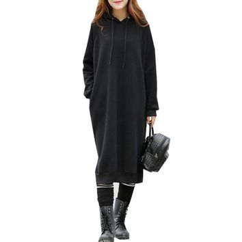 Womens Fashion Long Sleeve Pockets Split Casual Sweatshirt Hooded Dress Hoodies Pullover Jumper  Sweats Vestido Plus Size