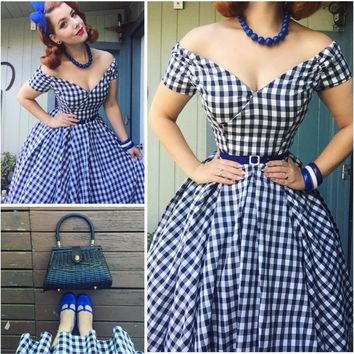 30- summer women vintage 50s gingham off shoulder boat neck swing dress rockabilly pinup vestidos plus size dresses jurken robe