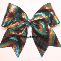 """3"""" Chevron Turquoise Brown Gold Cheer Bow"""