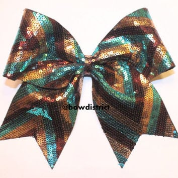 3 Chevron Turquoise Brown Gold Sequin Cheer Bow by BowDistrict