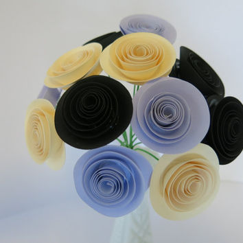 "Black, lilac and ivory paper Flower bouquet in silver vase light purple small 1.5"" rose floral arrangement wedding bridal decoration elegant"