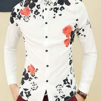 White Shirt Collar Floral Print Long Sleeve Shirt