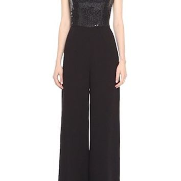 St. John Collection Sequin Satin Back Crepe Jumpsuit | Nordstrom