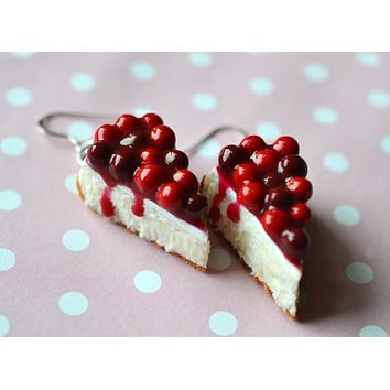 Cherry Cheesecake Earrings,  Polymer Clay Dessert Jewelry