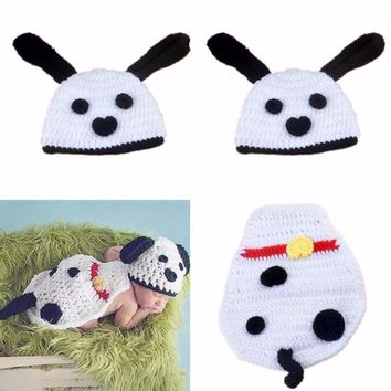 1set Cute Kids Newborn Knitted Hand Crochet White Dog Handmade Baby Suit Photography Cloak