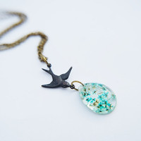 Turquoise Blue Bird Real Flower Resin Necklace Tear Drop Tiny Swallow Dangle Pendant Necklace Earring Set